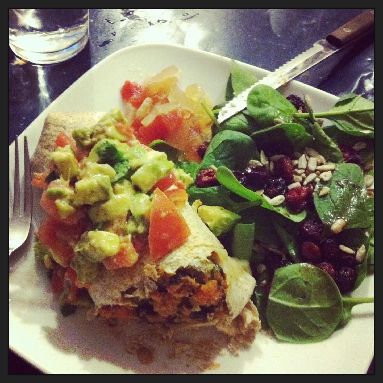 Decadence- burrito topped with avocado tomato salsa (same recipe as ...