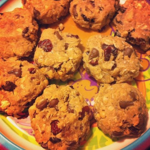 Peanut Butter, Chocolate and Cranberry Cookies (and yes, that's a Scooby-Doo plate!)